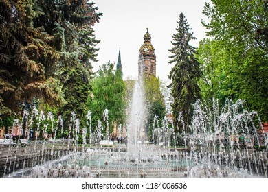 Kosice, Slovakia / May 12, 2015: Singing Fountain at the Cathedral of St. Elizabeth