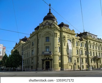 Kosice, Slovakia - May 2, 2018: East Slovak Museum in Kosice is one of oldest Slovak museums.  Neo-Renaissance building with sculptures of Perseus and Vulcan on facade on Marathon Runners' Square