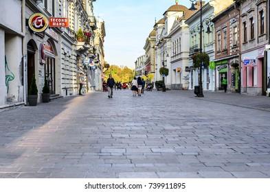 KOSICE, SLOVAKIA - October 14, 2017: Central street of the city of Kosice Slovakia.