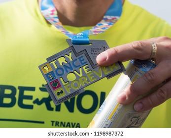 KOSICE, SLOVAKIA - October 6, 2018. Medal for runners at 95 MMM in Kosice. 95 Mezinarodni Maraton Mieru, 95 MMM 2018, Kosice.