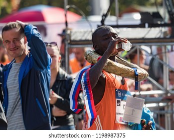 KOSICE, SLOVAKIA - October 6, 2018. Winner CHOGE Raymond Kipchu on 95 Mezinarodni Maraton Mieru, MMM 2018, Kosice. International Marathon of Peace Kosice, SLOVAKIA