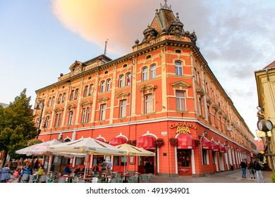 KOSICE, SLOVAKIA - SEP 25, 2016: Main street (Hlavna) of Kosice, the biggest city in eastern Slovakia. It was the European Capital of Culture in 2013