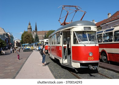 KOSICE, SLOVAKIA - SEPTEMBER 15, 2011: The old Tram on the central street in Kosice, Slovakia