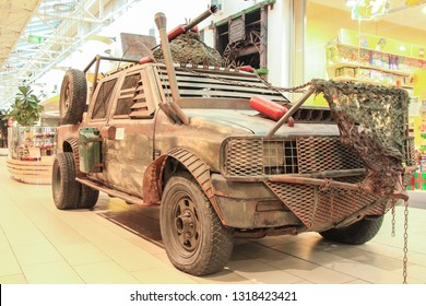 Kosice, Sloviakia - 20 December 2018: Mad Max Vehicle on Front of Steam Factory Restaurant