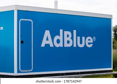Kosice/Slovakia July 29, 2020 The AdBlue tank at the gas station. AdBlue is a diesel exhaust cleaning fluid for trucks and buses.