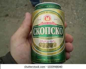Gračanica, Kosovo - Circa April 2008. Can of Skopsko beer by Macedonian brewery.