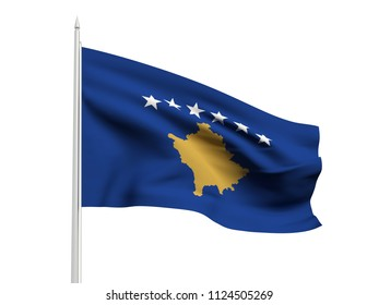 Kosovo flag floating in the wind with a White sky background. 3D illustration.