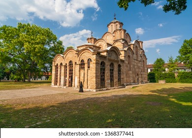 Kosovo - Gracanica - Assumption cathedral (built 1315-1321) with an abstract nun of orthodox monastery Gracanica (UNESCO world heritage site) located in serbian enclave near the capital city Pristina