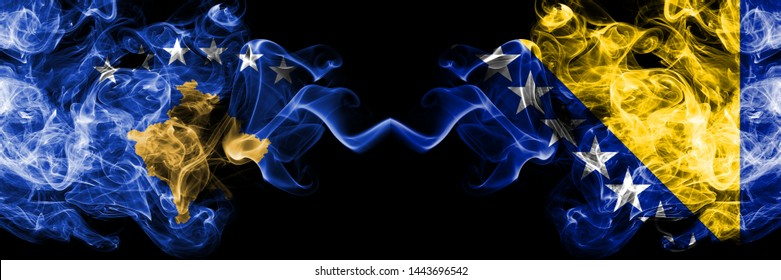 Kosovo vs Bosnia and Herzegovina, Bosnian smoky mystic flags placed side by side. Thick colored silky smokes combination of Kosovo and Bosnia and Herzegovina, Bosnian flag