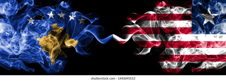 Kosovo vs Liberia, Liberian smoky mystic flags placed side by side. Thick colored silky smokes combination of Kosovo and Liberia, Liberian flag
