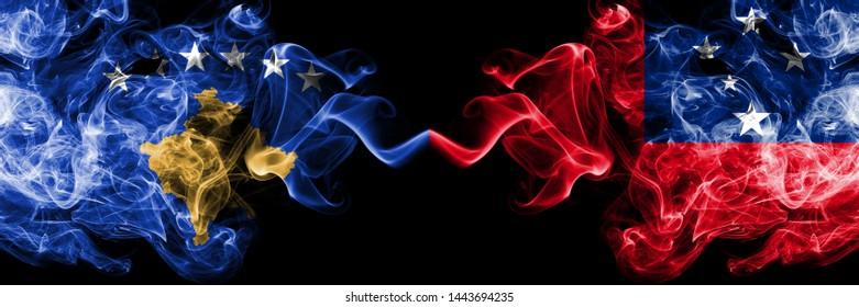 Kosovo vs Samoa, Samoan smoky mystic flags placed side by side. Thick colored silky smokes combination of Kosovo and Samoa, Samoan flag