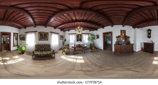 KOSSOVO, BELARUS, 17 July 2016: Full 360 degree equirectangula panorama house with a vintage interior and things manor Konstanty Kalinowski