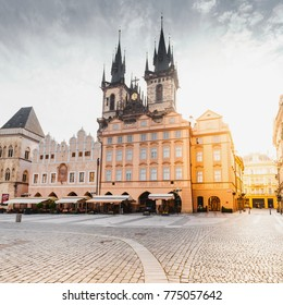 Kostel Panny Marie pred Tynem at the sunrise. Church of the Virgin Mary. Beautiful Old Town Square with the church without people in Romanesque - Gothic style.