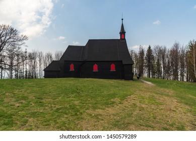 Kostel sv. Antonina Paduanskeho wooden church on Mala Prasiva hill in Moravskoslezske Beskydy mountains  in Czech republic