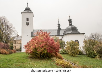 Kostel sv. Mari Magdaleny in Horni Mesto near Rymarov city in Czech republic built in 17th century during cloudy autumn day