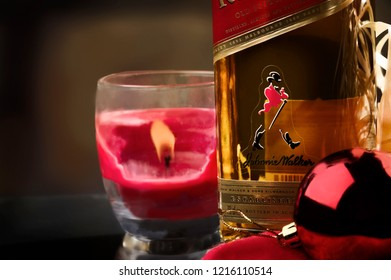 Kostinbrod-Sofia Oblast/Bulgaria  - February 7, 2015 Christmas time is a very acceptable time of the year to reward my self with one drink at home during the process of Christmas home decoration.