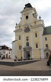 Piaristický kostol Najsvätejšej Trojice a nanebovzatia Panny Márie (Roman catholic church of the holy trinity), Prievidza, Slovakia