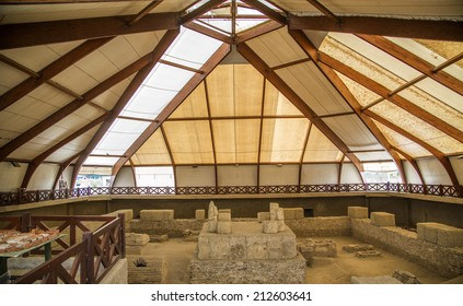 KOSTOLAC, SERBIA - AUGUST 15, 2014: Ruins of mausoleum at Viminacium site near Kostolac, Serbia. Viminacium was a major city of the Roman province of Moesia, distroyed at 6th century.
