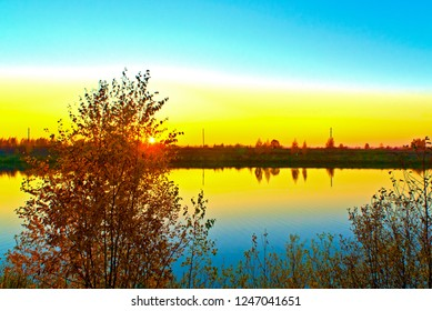 Kostroma River in the fall at sunset. Kostroma, Russia.