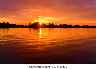 Kostroma river at sunset in summer. Kostroma, Russia.
