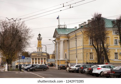 KOSTROMA. RUSSIA. 27 OCTOBER 2017 : Fire tower and city offices buiding at Susanin square in Kostroma. Russian