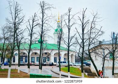 Kostroma, Russia - April 30, 2010: Church of Savior and Shopping Center Arcade in Kostroma in Russia