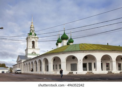 KOSTROMA, RUSSIA - JULY 20, 2016: Unidentified people visit famous Shopping (Red ranks) and Church of Our Saviour in ranks in Kostroma, Golden Ring of Russia