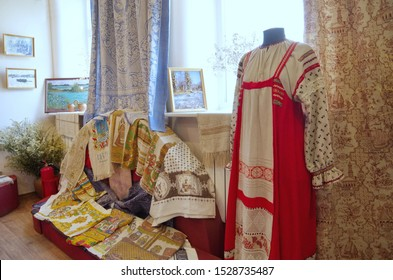 Kostroma, Russia - July 25, 2019: Exhibits in the Museum of flax and birch bark