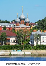 KOSTROMA, RUSSIA - JUNE, 2016: Embankment, Forest Street. Church of the Resurrection in the Grove - Orthodox church in Kostroma. View from the Volga River.