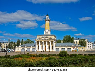 KOSTROMA, RUSSIA, MAY, 19, 2019  People walk in the Central square