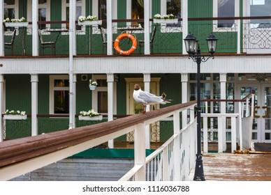 "Kostroma, Russia. Old embarcadero on Volga river. The subscription on Lifebuoy - ""Kostroma, embarcadero"""