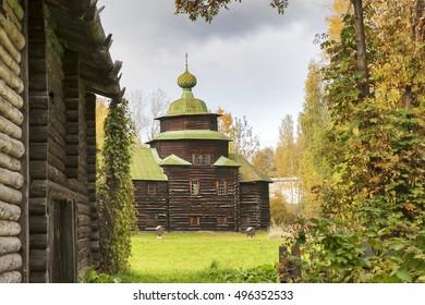 KOSTROMA, RUSSIA - September 20, 2016: Kostroma Architectural-Ethnographic and Landscape Museum-Reserve Kostromskaya Sloboda. Church of Elijah Prophet from village Upper Berezovets