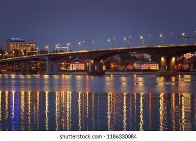 Kostroma, Russia - September 21, 2018: Bridge over the Kostroma river  in the blue hour.