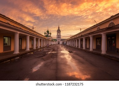 Kostroma, Russia - September 23, 2018: Church of Savior and Shopping arcade. Amazing sunset in Kostroma.