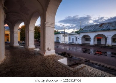 Kostroma, Russia - September 27, 2018: The trading arcades in Kostroma, the Golden Ring of Russia.