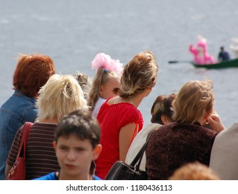 Kostroma/Russia - August 23, 2008: Celebration the day of the Kostroma city. People are watching the parade of river ships