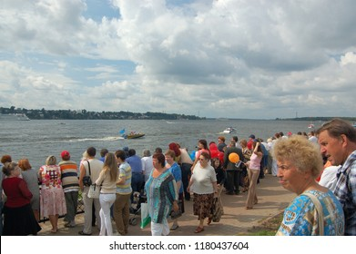 Kostroma/Russia - August 23, 2008: Celebration the day of the Kostroma city. The beginning of the parade of ships on the Volga River