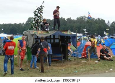 Kostrzyn nad Odra, Poland 15.07.2016: People on Woodstock Festival