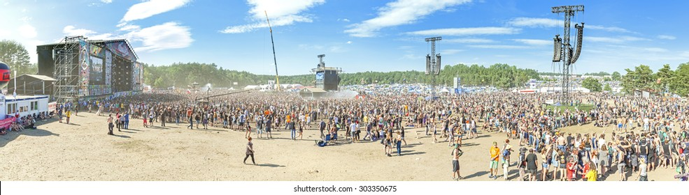 KOSTRZYN NAD ODRA, POLAND - AUGUST 1, 2015: Panoramic view of main stage of the 21th Woodstock Festival Poland (Przystanek Woodstock), one of the biggest music festivals in Europe.
