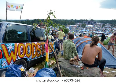 KOSTRZYN NAD ODRA, POLAND - AUGUST 4:  Festival Przystanek Woodstock - view of the people on camping and festival scene away on August 4, 2012 in Kostrzyn Nad Odra, Poland.