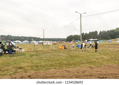 Kostrzyn nad Odrą, Poland - August 2nd 2018 : Pol'and'Rock friends enjoying holidays at the music festival on campsite. Previously Woodstock festival.