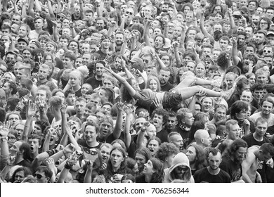 Kostrzyn, Poland - August 05, 2017: People having fun at a concert during the 23rd Woodstock Festival Poland. Festival is among the biggest open air festivals in the world.