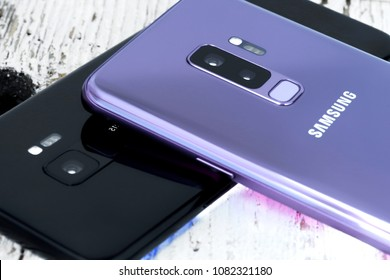Koszalin, Poland – 01 May, 2018: Samsung Galaxy S9 Plus and  S9. Samsung 9 Plus & Samsung S9 are new generation smartphone. The Samsung 9 Plus & S9 is smart phone with multi touch