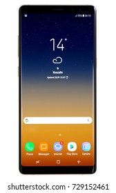 Koszalin, Poland – 03 October, 2017: Samsung Galaxy Note 8 on white background. Samsung Note 8 are new generation smartphone from Samsung. The Samsung Note 8 is smart phone with multi touch scren.