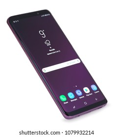 Koszalin, Poland – 30 April, 2018: Samsung Galaxy 9 Pluson on white background. Samsung 9 Plus are new generation smartphone from Samsung. The Samsung 9 Plus is smart phone with multi touch scren