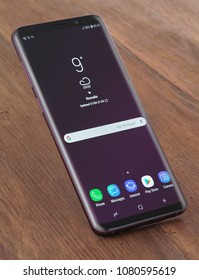 Koszalin, Poland – 30 April, 2018: Samsung Galaxy 9 Plus on table background. Samsung 9 Plus are new generation smartphone from Samsung. The Samsung 9 Plus is smart phone with multi touch scren