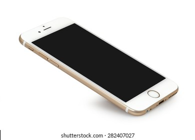 Koszalin, Poland - April 30, 2015: Golden iPhone 6 on white background. The iPhone 6 is smart phone with multi touch screen produced by Apple Computer, Inc.