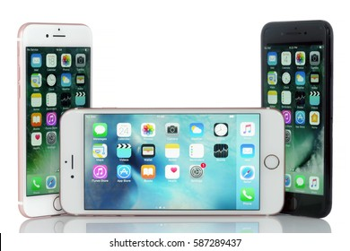 Koszalin, Poland- February 24, 2017: Black iPhone 7 and pink iPhone 6, 6 Plus. Devices displaying the applications on the home screen. The smart phone produced by Apple Computer