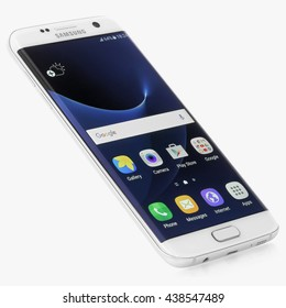 Koszalin, Poland  June 18 2016: Photo of Samsung Galaxy S7 Edge white pearl. Samsung 7 Edge are new generation smartphone from Samsung. The Samsung S7 Edge is smart phone with multi touch screen