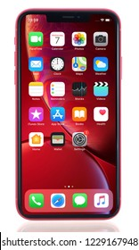 Koszalin, Poland – November 13, 2018: Red iPhone XR. The iPhone XR is smart phone with multi touch screen produced by Apple Computer, Inc.